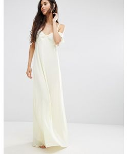 Oh My Love   Frill Cold Shoulder Maxi Dress