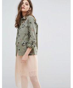 Miss Selfridge | Куртка Милитари С Цветочным Принтом
