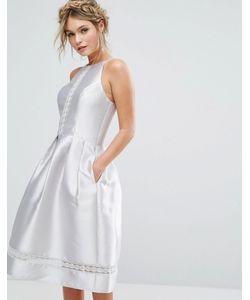 Chi Chi London | Атласное Платье Миди С Кружевными Вставками