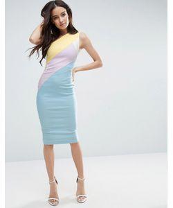 Vesper   Платье Колор Блок На Одно Плечо