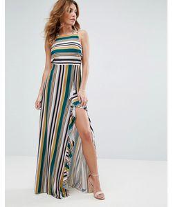 Asos | Полосатое Платье Макси С Бретельками И Бантом На Спине