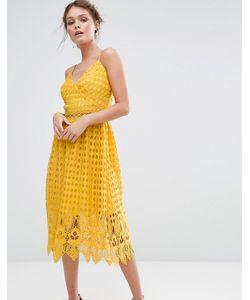 True Decadence | Кружевное Платье Миди С Ажурным Подолом