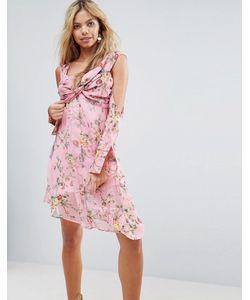 Asos | Платье С Вырезами На Плечах И Цветочным Принтом