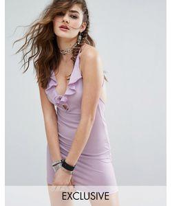 Motel   Облегающее Платье Мини С Халтером Глубоким V-Образным Вырезом Шнуровкой И Оборкой