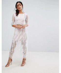 boohoo | Кружевное Платье Макси С Разрезами На Талии