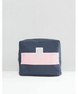 Jack Wills | Синяя Косметичка С Розовой Полоской