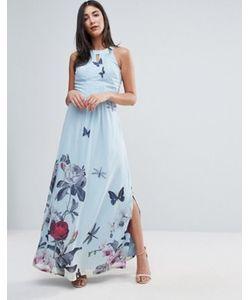 Uttam Boutique | Платье Макси С Цветочным Принтом И Складками От Горловины