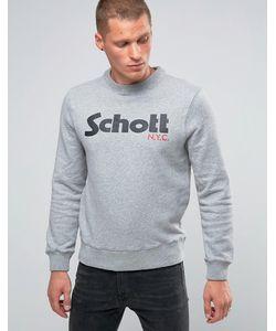 Schott | Свитшот С Крупным Логотипом И Круглым Вырезом