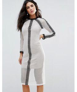 Goldie | Сетчатое Платье Миди С Кружевными Вставками И Комбинацией Vibration