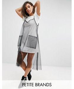 Boohoo Petite | Тюлевое Платье-Комбинация 2-В-1