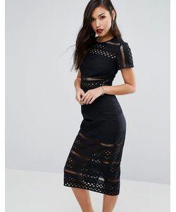 Style Stalker | Платье Миди С Вышивкой Ришелье И Вырезами Stylestalker