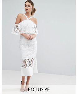 JARLO | Платье Миди С Лифом-Бандо И Ассиметричным Краем