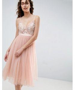 Needle & Thread | Тюлевое Платье Миди С Вышивкой Needle And Thread