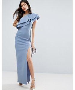 Asos | Платье Макси На Одно Плечо С Двойной Оборкой