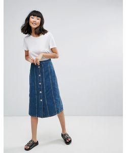 Mih Jeans | Джинсовая Юбка Миди Со Вставками Simone