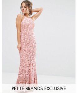 Jarlo Petite | Кружевное Платье Макси С Высокой Горловиной