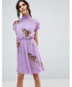 Asos   Чайное Платье С Открытой Спиной И Вышивкой Тигра Premium