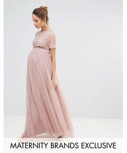Maya Maternity | Платье Макси С Юбкой Из Тюля И Декорированным Лифом