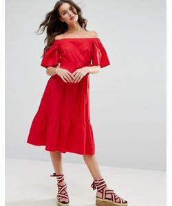 Asos | Платье Миди С Открытыми Плечами И Поясом