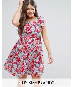Koko | Короткое Приталенное Платье С Рукавами-Оборками И Цветочным Принтом Plus