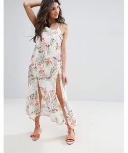Minkpink | Пляжное Платье Макси С Боковым Разрезом И Пальмовым Принтом