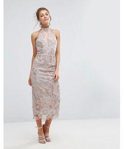 True Violet | Кружевное Платье Миди С Вырезом Капелькой