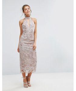 True Violet | Keyhole Lace Midi Dress