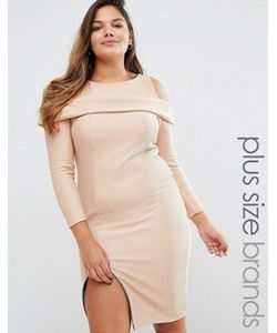 Boohoo Plus | Платье В Рубчик С Открытыми Плечами