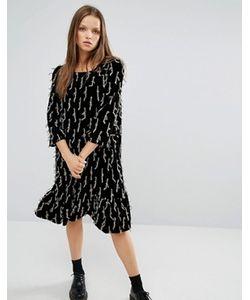 STYLE NANDA | Декорированное Свободное Платье С Рюшами По Низу Stylenanda