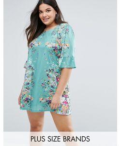 Yumi Plus | Свободное Платье С Принтом И Оборками На Рукавах
