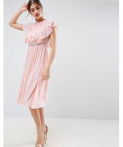 Asos | Платье Миди С Рукавами-Оборками И Отделкой На Талии