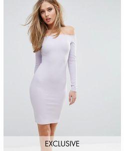 Club L | Платье Миди В Рубчик С Открытыми Плечами