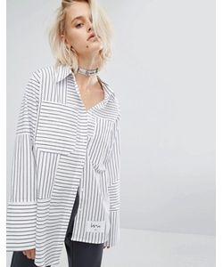 KKXX   Полосатая Рубашка Со Ступенчатым Краем