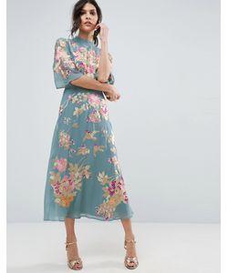 Asos | Платье Миди С Цветочной Вышивкой Premium