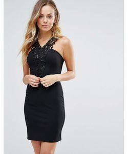Wal G | Платье С Кружевом Кроше И Халтером