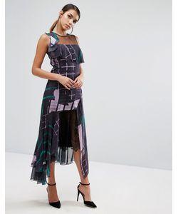 THREE FLOOR | Платье Миди С Принтом И Кружевом