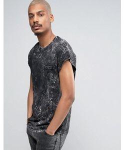 BLACK KAVIAR | Oversized Sleeveless T-Shirt In Acid Wash