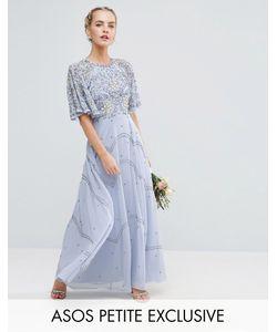 ASOS PETITE | Платье Макси С Рукавами Клеш И Цветочной Отделкой Wedding