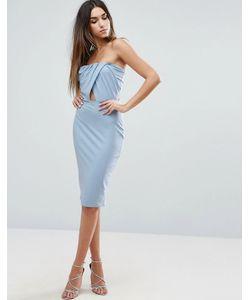 Asos | Облегающее Платье Миди С Топом-Бандо