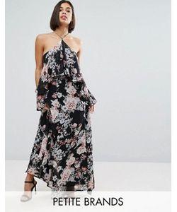 Boohoo Petite | Cold Shoulder Ruffle Maxi Dress