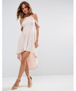 Asos | Короткое Приталенное Платье Миди С Открытыми Плечами