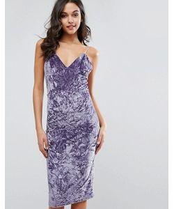 Club L | Платье Миди Из Мятого Бархата