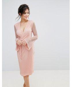 Club L | Сетчатое Платье Миди С V-Образным Вырезом И Расклешенными Рукавами