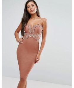 Rare | Платье-Футляр С Вырезом Сердечком И Кружевной Отделкой London