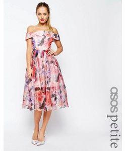 ASOS PETITE | Платье Миди Из Органзы С Цветочным Принтом Salon