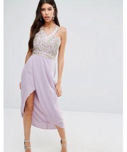 Virgos Lounge | Платье Миди С Вышивкой И Отделкой Стразами На Лифе