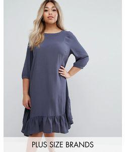 Junarose | Свободное Платье С Оборкой По Краю