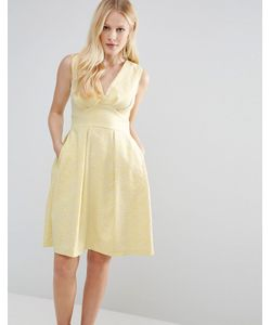 Closet London | Жаккардовое Платье С V-Образным Вырезом Closet