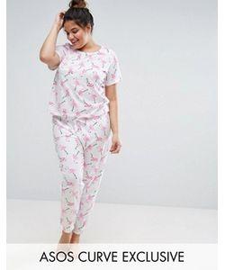 ASOS CURVE | Пижамный Комплект С Принтом Фламинго