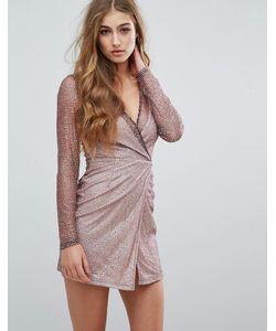 MISSGUIDED | Облегающее Блестящее Платье С Длинными Рукавами